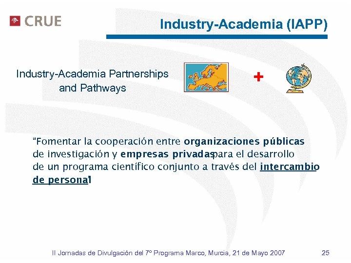 """Industry-Academia (IAPP) Industry-Academia Partnerships and Pathways + """"Fomentar la cooperación entre organizaciones públicas de"""