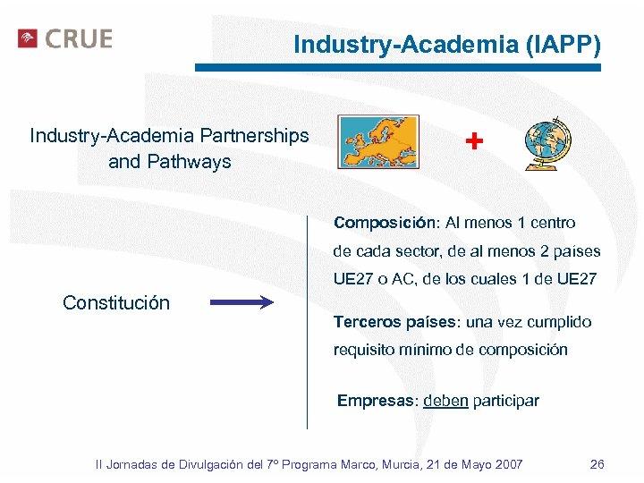 Industry-Academia (IAPP) Industry-Academia Partnerships and Pathways + Composición: Al menos 1 centro de cada