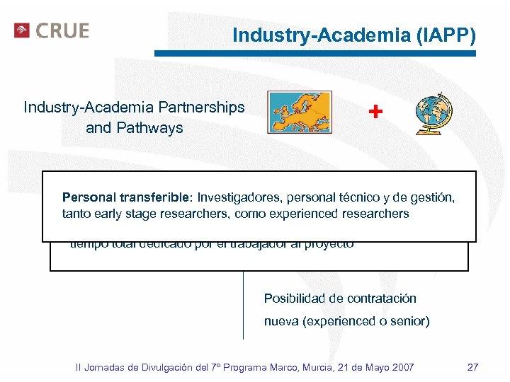 Industry-Academia (IAPP) + Industry-Academia Partnerships and Pathways Personal propio (al menos 1 año de