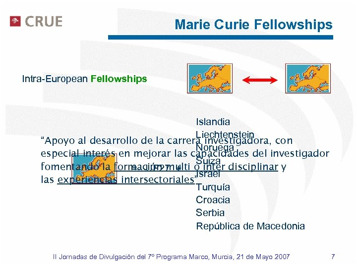 "Marie Curie Fellowships Intra-European Fellowships Islandia Liechtenstein ""Apoyo al desarrollo de la carrera investigadora,"
