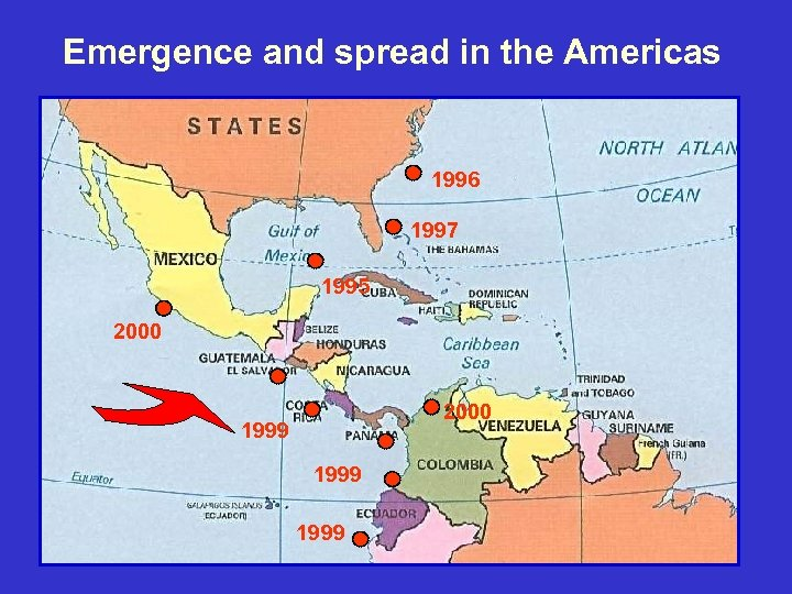 Emergence and spread in the Americas 1996 1997 1995 2000 1999 18