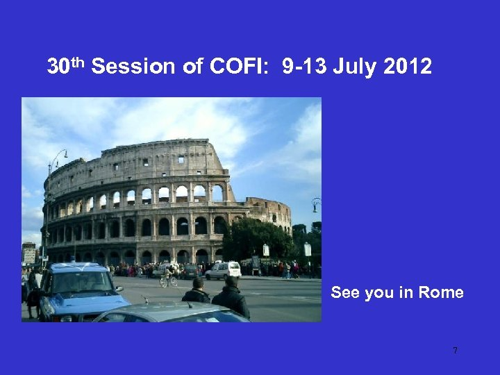 30 th Session of COFI: 9 -13 July 2012 See you in Rome 7