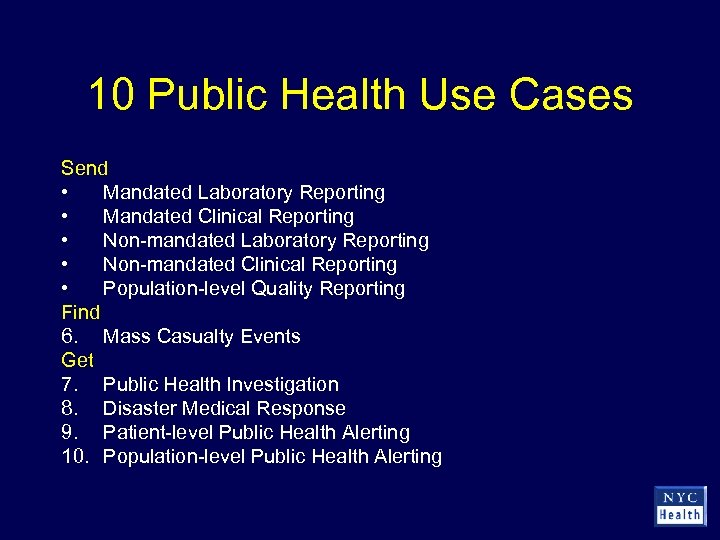 10 Public Health Use Cases Send • Mandated Laboratory Reporting • Mandated Clinical Reporting