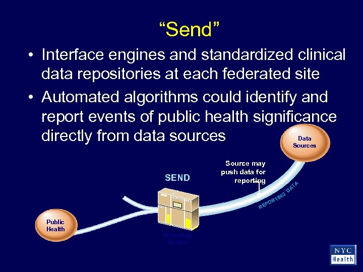"""""""Send"""" • Interface engines and standardized clinical data repositories at each federated site •"""
