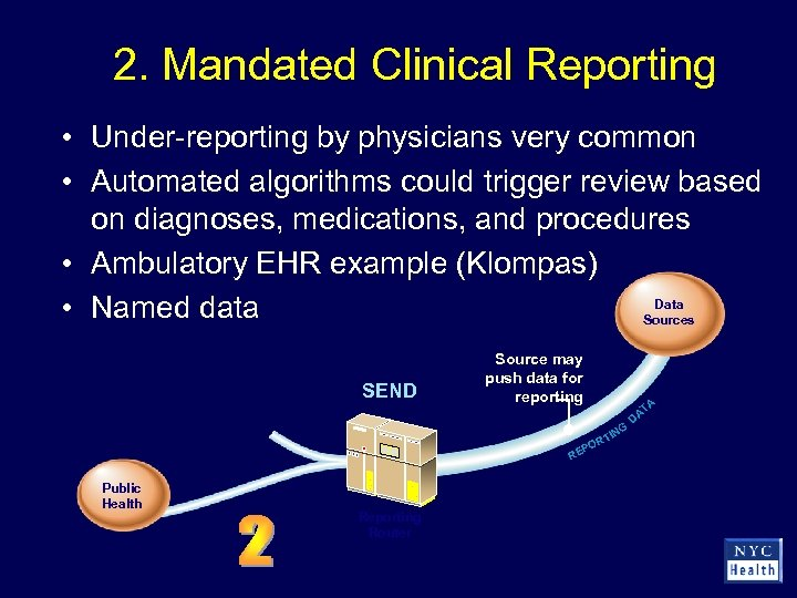 2. Mandated Clinical Reporting • Under-reporting by physicians very common • Automated algorithms could