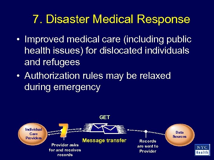 7. Disaster Medical Response • Improved medical care (including public health issues) for dislocated