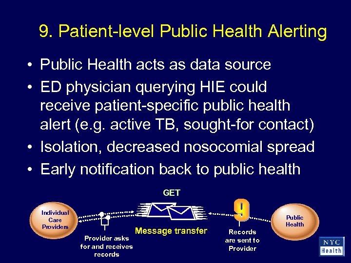 9. Patient-level Public Health Alerting • Public Health acts as data source • ED