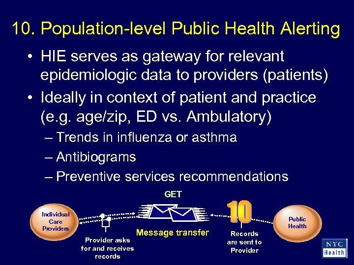 10. Population-level Public Health Alerting • HIE serves as gateway for relevant epidemiologic data