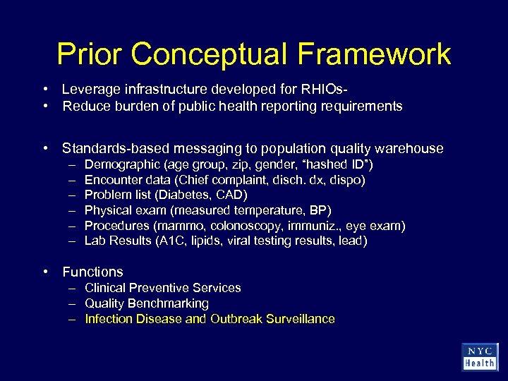 Prior Conceptual Framework • Leverage infrastructure developed for RHIOs • Reduce burden of public