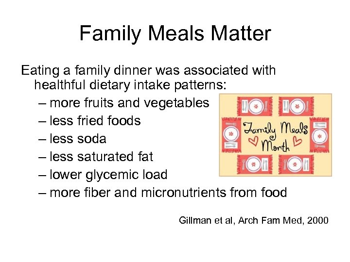 Family Meals Matter Eating a family dinner was associated with healthful dietary intake patterns: