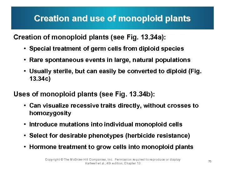 Creation and use of monoploid plants Creation of monoploid plants (see Fig. 13. 34