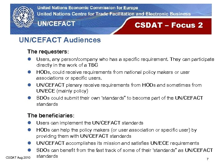 CSDAT – Focus 2 UN/CEFACT Audiences The requesters: l l Users, any person/company who