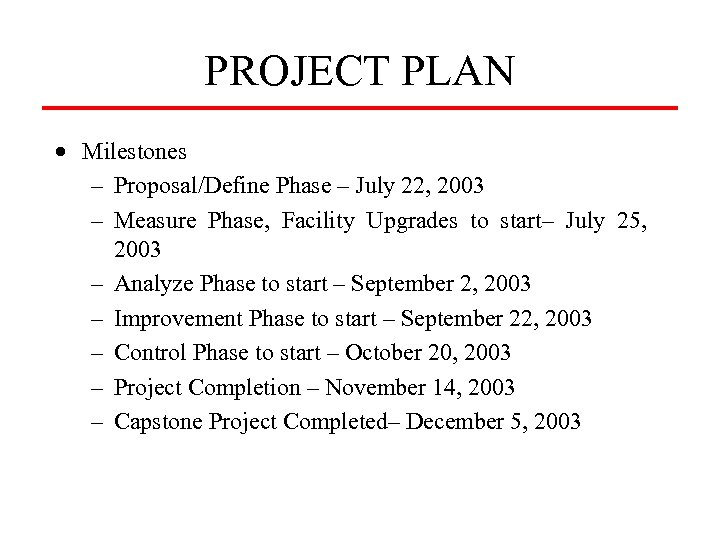 PROJECT PLAN · Milestones – Proposal/Define Phase – July 22, 2003 – Measure Phase,