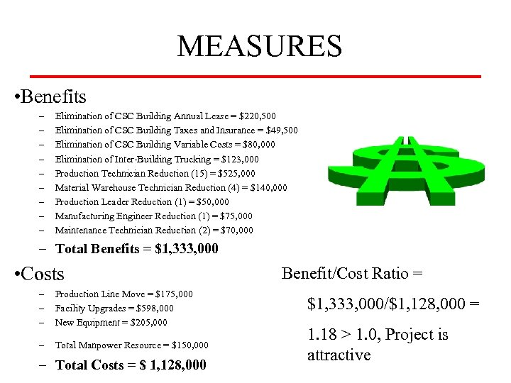 MEASURES • Benefits – – – – – Elimination of CSC Building Annual Lease