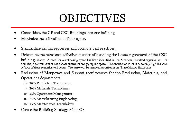 OBJECTIVES · · Consolidate the CP and CSC Buildings into one building Maximize the