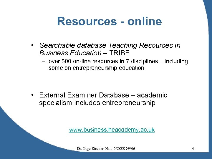Resources - online • Searchable database Teaching Resources in Business Education – TRIBE –