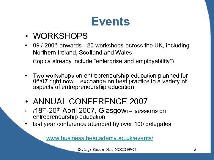 Events • WORKSHOPS • 09 / 2006 onwards - 20 workshops across the UK,