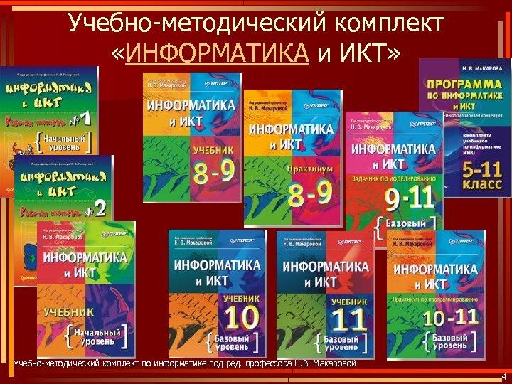 Учебно-методический комплект «ИНФОРМАТИКА и ИКТ» Учебно-методический комплект по информатике под ред. профессора Н. В.