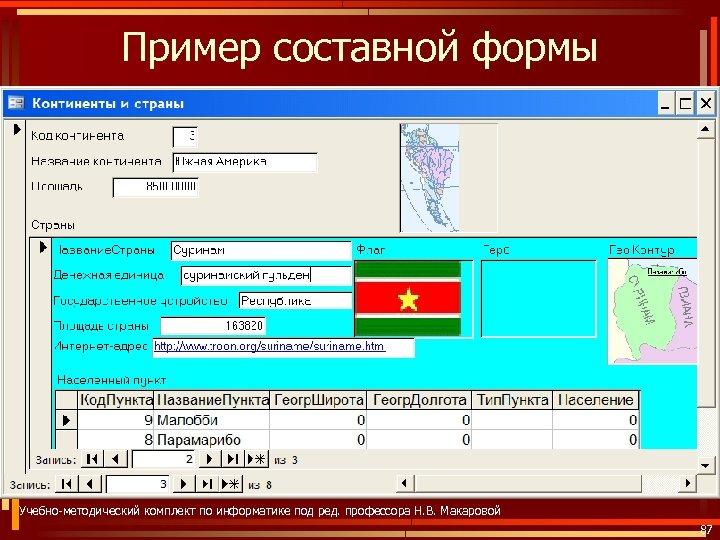 Пример составной формы Учебно-методический комплект по информатике под ред. профессора Н. В. Макаровой 87