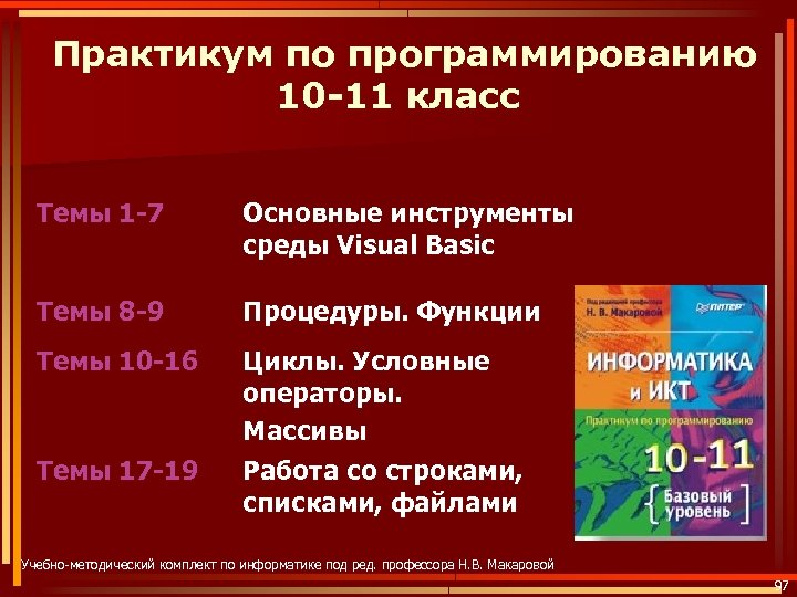 Практикум по программированию 10 -11 класс Темы 1 -7 Основные инструменты среды Visual Basic