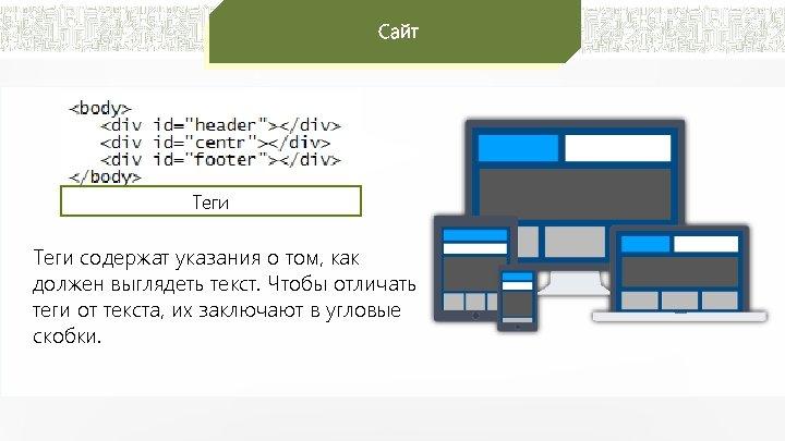 Сайт Теги содержат указания о том, как должен выглядеть текст. Чтобы отличать теги от