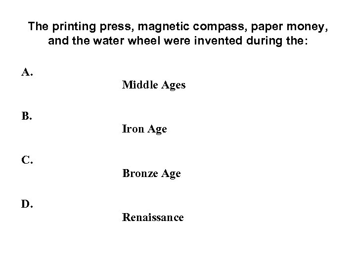 The printing press, magnetic compass, paper money, and the water wheel were invented during