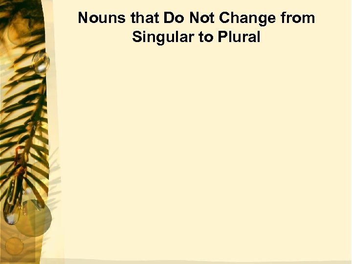 Nouns that Do Not Change from Singular to Plural