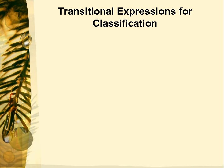 Transitional Expressions for Classification