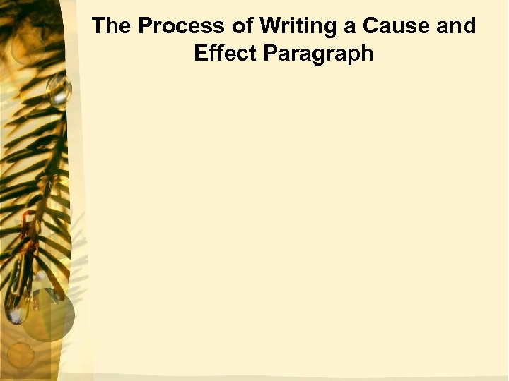 The Process of Writing a Cause and Effect Paragraph
