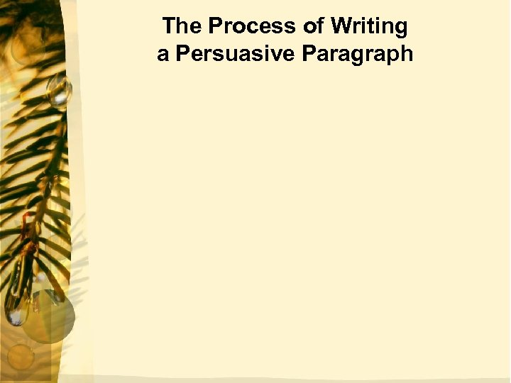The Process of Writing a Persuasive Paragraph
