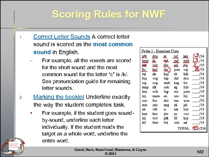 Scoring Rules for NWF Correct Letter Sounds A correct letter sound is scored as