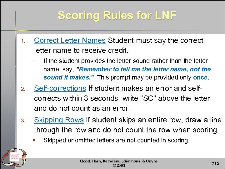 Scoring Rules for LNF 1. Correct Letter Names Student must say the correct letter