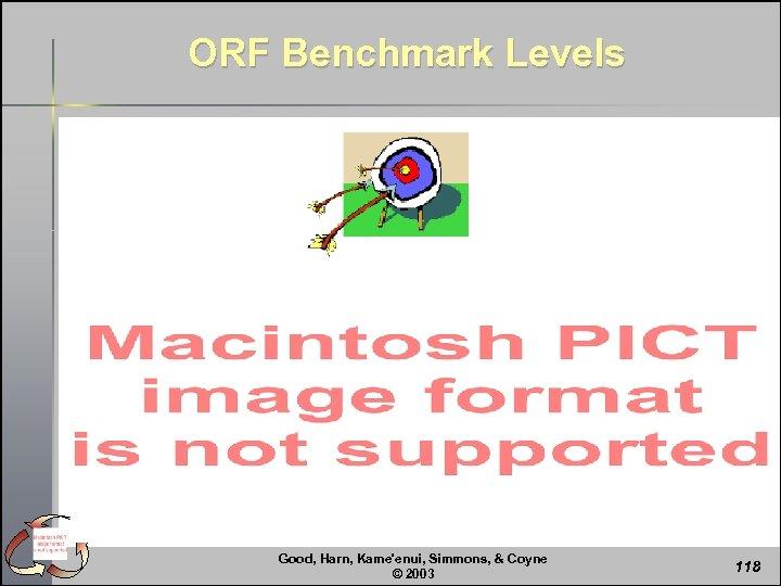 ORF Benchmark Levels Good, Harn, Kame'enui, Simmons, & Coyne © 2003 118