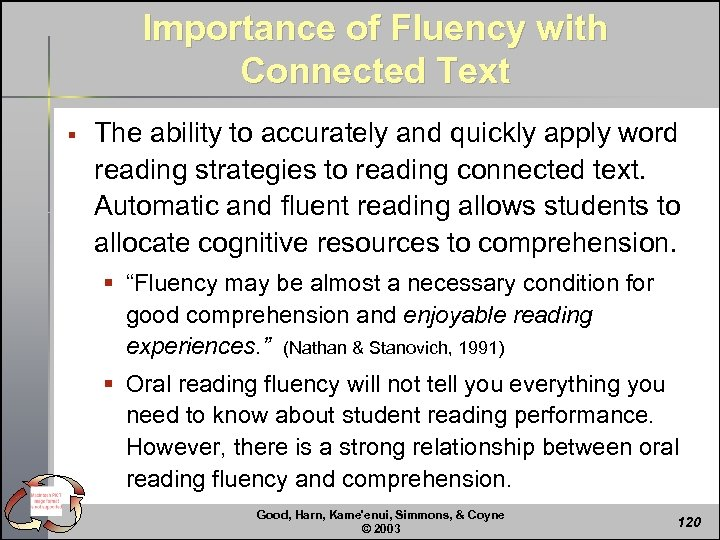 Importance of Fluency with Connected Text § The ability to accurately and quickly apply