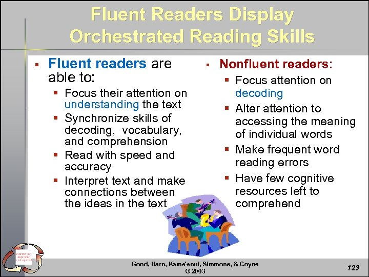 Fluent Readers Display Orchestrated Reading Skills § Fluent readers are able to: § Focus