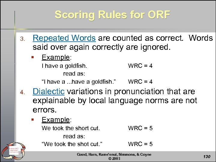 Scoring Rules for ORF 3. Repeated Words are counted as correct. Words said over
