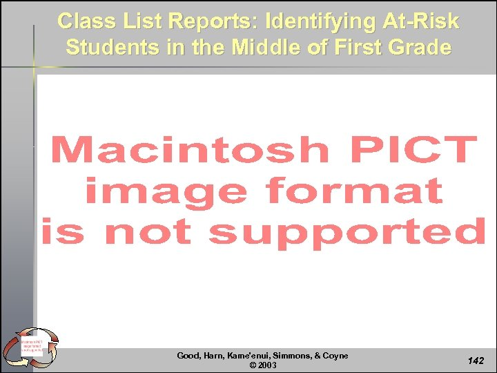 Class List Reports: Identifying At-Risk Students in the Middle of First Grade Good, Harn,