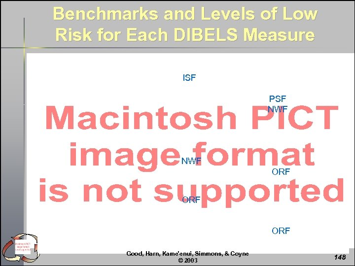 Benchmarks and Levels of Low Risk for Each DIBELS Measure ISF PSF NWF ORF