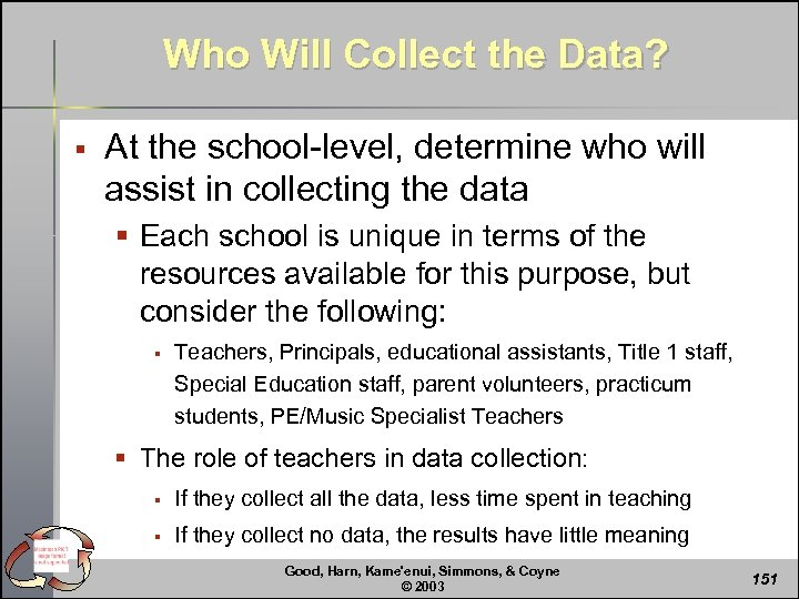 Who Will Collect the Data? § At the school-level, determine who will assist in
