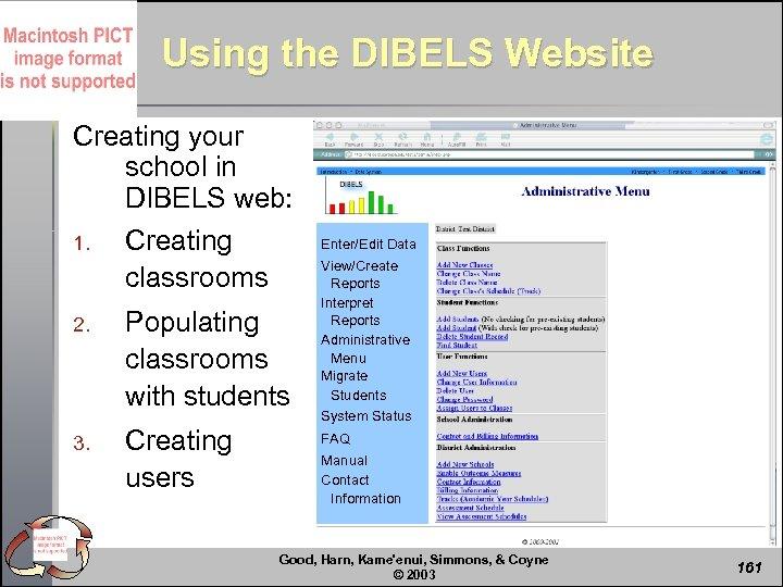 Using the DIBELS Website Creating your school in DIBELS web: 1. Creating classrooms 2.