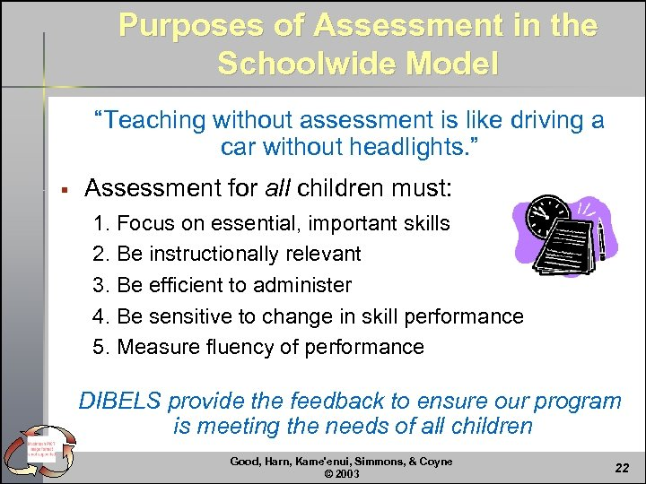 """Purposes of Assessment in the Schoolwide Model """"Teaching without assessment is like driving a"""