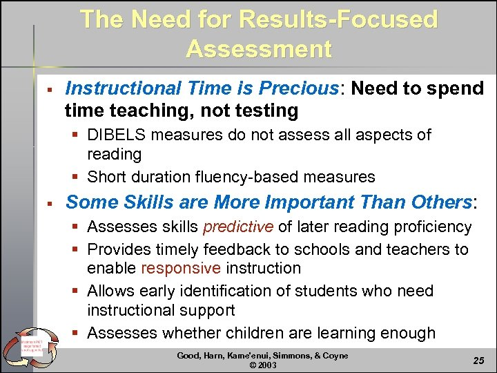 The Need for Results-Focused Assessment § Instructional Time is Precious: Need to spend time