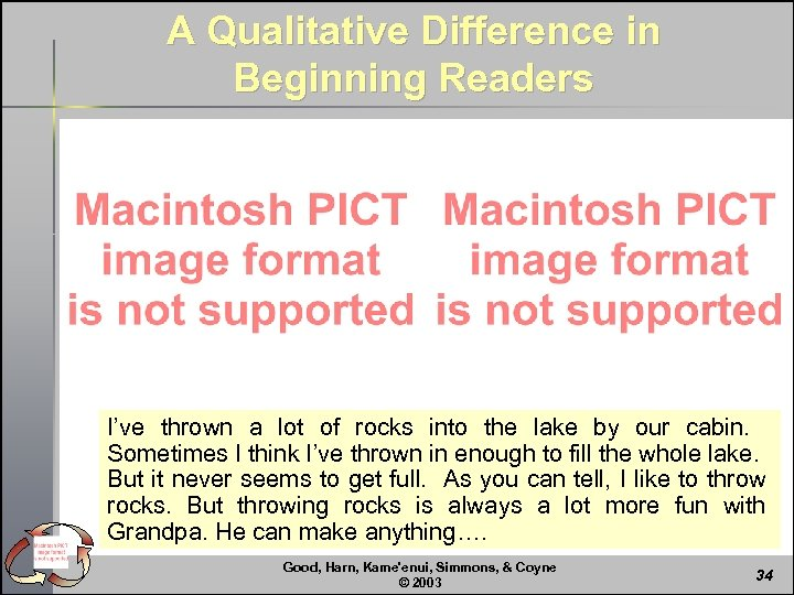 A Qualitative Difference in Beginning Readers I've thrown a lot of rocks into the