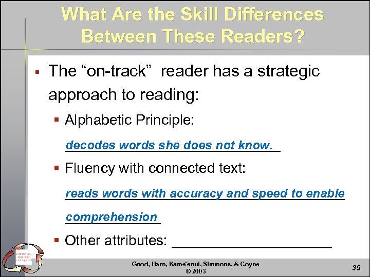 """What Are the Skill Differences Between These Readers? § The """"on-track"""" reader has a"""