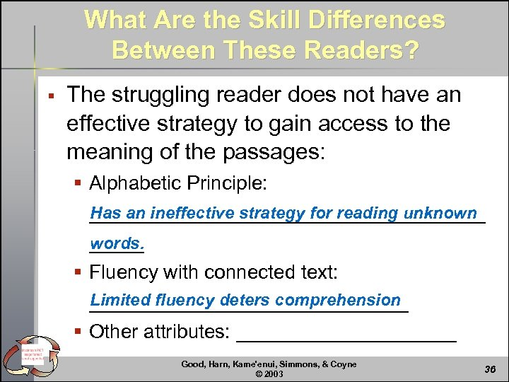 What Are the Skill Differences Between These Readers? § The struggling reader does not