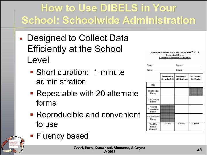 How to Use DIBELS in Your School: Schoolwide Administration § Designed to Collect Data