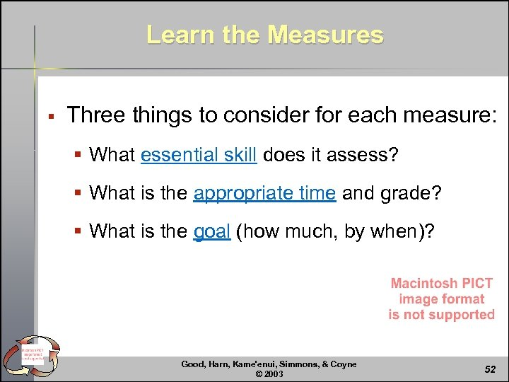 Learn the Measures § Three things to consider for each measure: § What essential