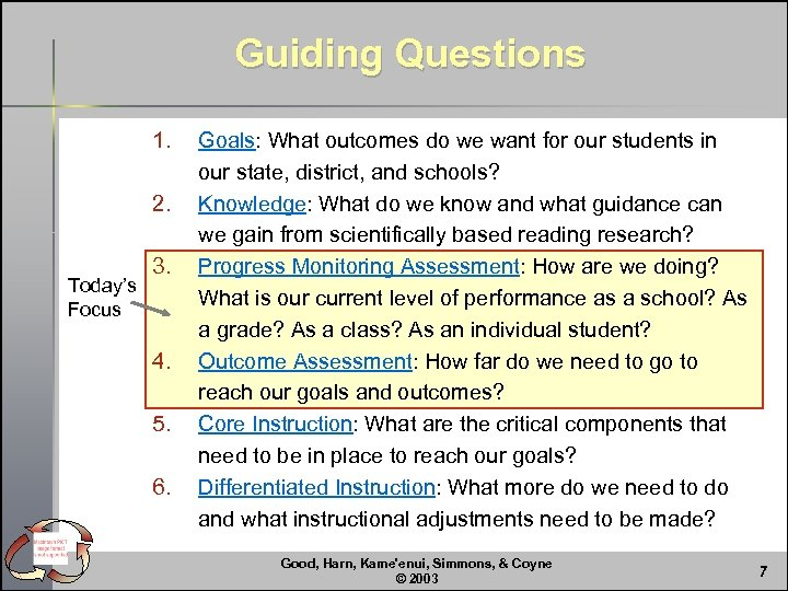 Guiding Questions 1. 2. Today's Focus 3. 4. 5. 6. Goals: What outcomes do