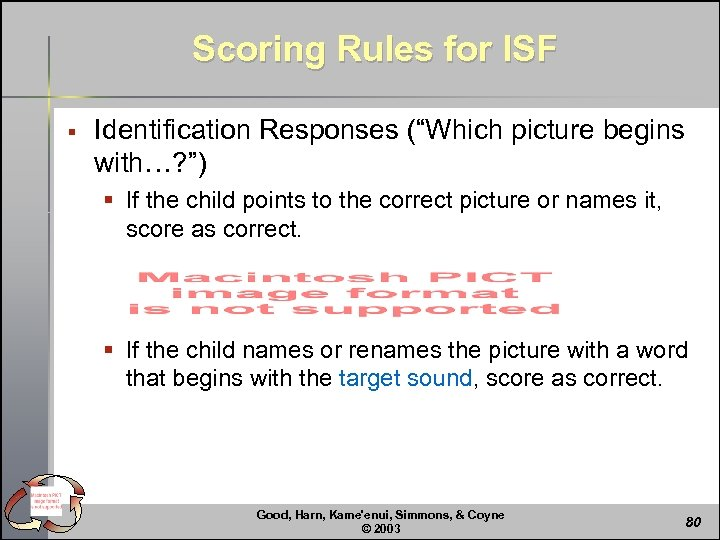 """Scoring Rules for ISF § Identification Responses (""""Which picture begins with…? """") § If"""