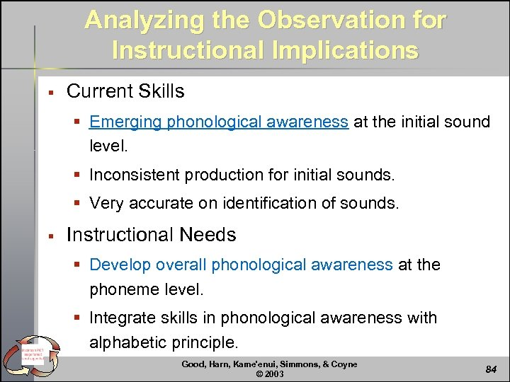 Analyzing the Observation for Instructional Implications § Current Skills § Emerging phonological awareness at